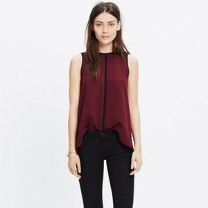 Madewell Crepe Canal Tank Top in Burgundy